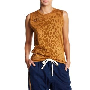 FREE CITY Brown Leopard Print Safety Pin Tank Top